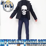 12 Inch Male Skull Shirt, Jeans & Black Jacket